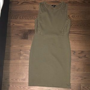 H&M Khaki Fitted Dress with Lace Back